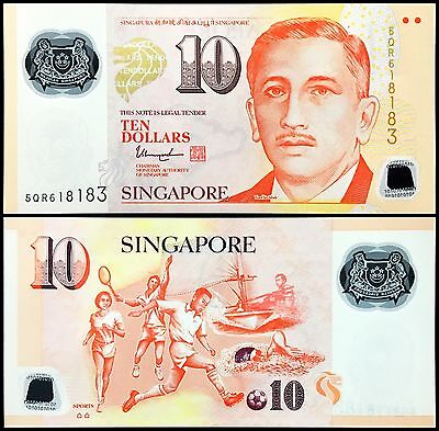 """Singapore 10 Dollar with Two Hollow Houses """"SPORTS"""" P48k P-48k GEM UNC"""