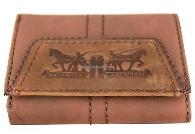 Levi's Men's Classic Genuine Leather Trifold Credit Card Wallet Brown 31lv1180