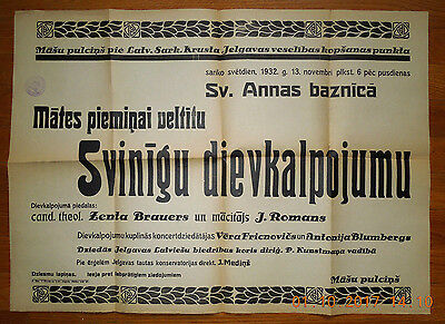 """LATVIA ADVERTISING WORSHIP SERVICE POSTERS """"the memory of mother"""" CHURCH 2283"""