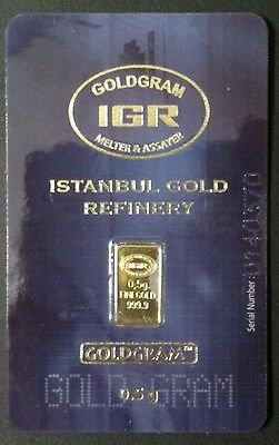 Istanbul Gold Refinery 0.5 Gram Gold Bar.USA Shipping Only.