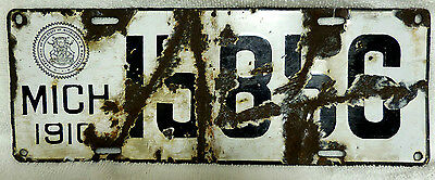 1910 Michigan Porcelain License Plate 10 MI First Issue