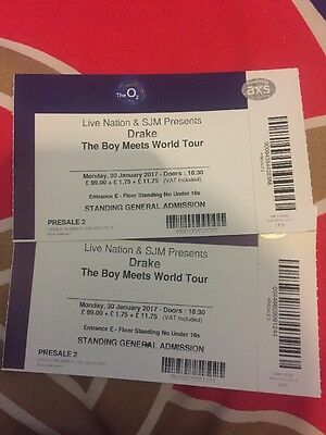 """2x Drake """"The Boy Meets World Tour"""" 30th January Standing At O2 Arena"""