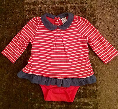 Baby Gap Coral & White Stripe Top W/ Snap Closure, Size 3-6 Months
