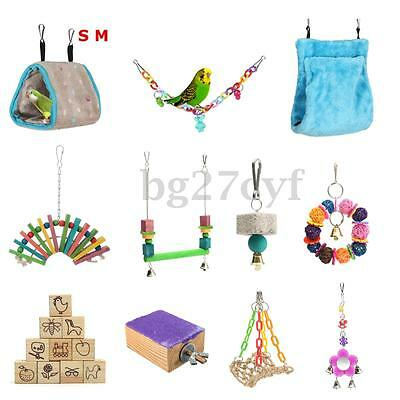 Parrot Pet Bird Chew Cage Hanging Swing Rope Cave Hammock Bed Bell Toy Parakeet