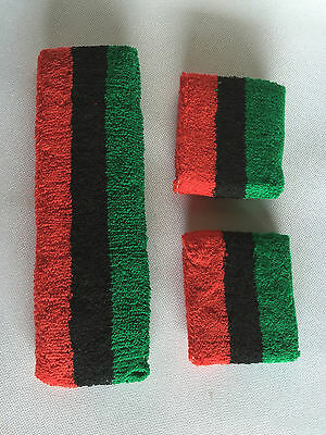Green Black Red Stripe Sports Unisex Cotton HeadBand WristBand Sweatband Set