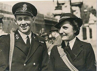 WW-II Royal Navy C.P.O. Loe and Wife at Palace Investiture