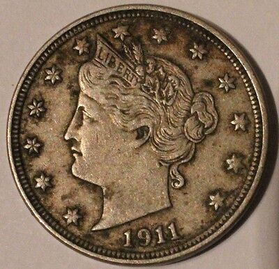 US 1911 Liberty Head V 5 Cents 5c Nickel Coin GREAT DETAIL