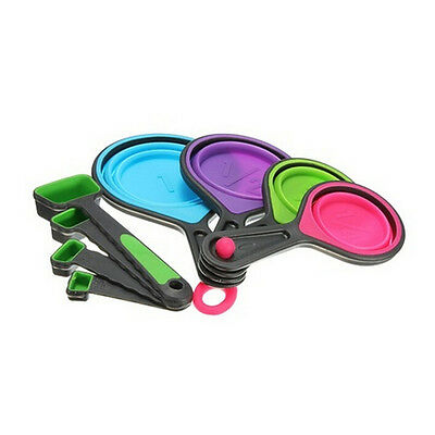 Healthy Silicone Measuring Cups Spoon Kitchen Tool Collapsible Baking Cook VV