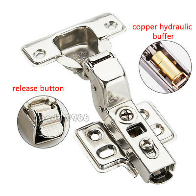 Self Soft Close Overlay Hinge Concealed Door Kitchen Cabinet Cupboard Hydraulic