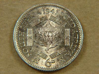 1941 South Africa 6D Sixpence Silver Coin