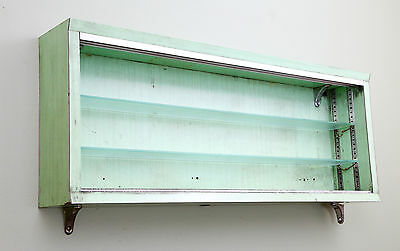Vintage Mint Green Medical VALTRONIC CORP Industrial Cabinet Glass Display Case