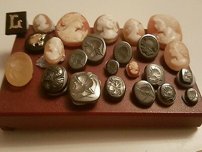 Joblot Cameos intaglio signet removed from scrap gold