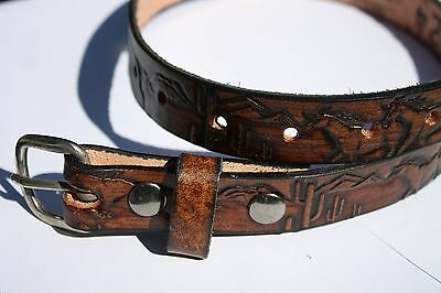 Personalized Solid Leather Belts - Kid - waist size 18 inch - Brown Horse