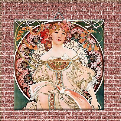 "Art Nouveau Alphonse Mucha Reproduction decorative Ceramic Tile 4.25"" #1"