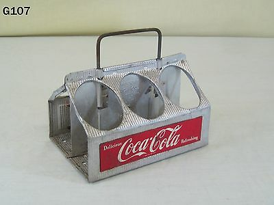 Vintage Coca Cola Coke Soda Pop Advertising Metal Bottle Caddy Carrier Old Rare