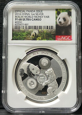 China 2016 Berlin WMF (World Money Fair) 1oz Panda Silver Medal NGC PF68 No.0351