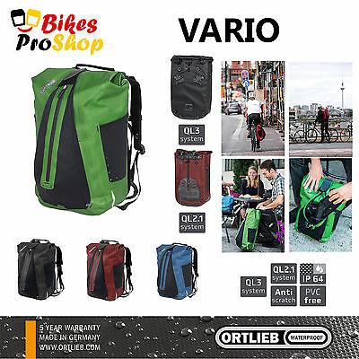 NEW 2018 ORTLIEB Vario (2 in 1 Backpack & Bike Pannier) 100% IP64 WATERPROOF