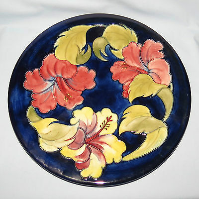 WALTER MOORCROFT HIBISCUS PATTERN LARGE PLATE 12inch 30cm c.1970's