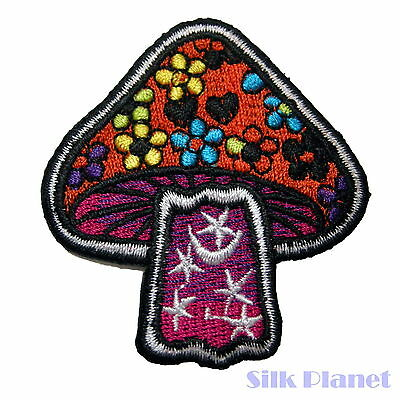 Mushroom Psychedelic Charms Star Moon Sew Iron On Patch Embroidered Applique DIY