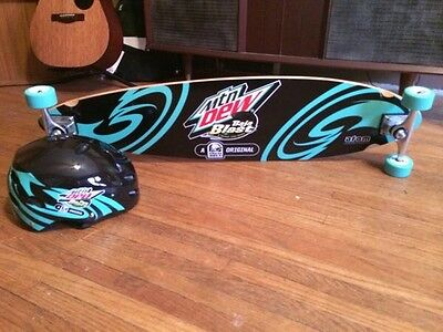 Mountain Dew Baja Blast Longboard Made By Adam Baja Unopened Longboard Helmet