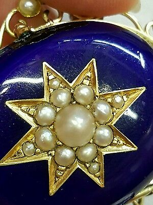 Victorian Pearl and Blue Enamel double Locket  18 CT yellow gold