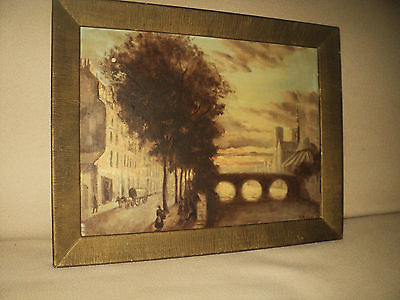 Antique 19Th Century Rare French Folk Art Oil Painting Signed