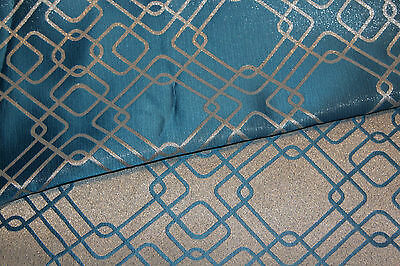 Rigel Metallic Geometric Satin Jacquard Blue, Silver Medium Weight Fabric