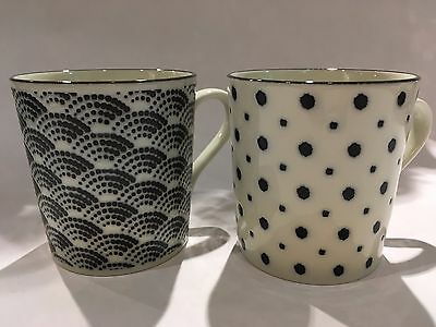 Japanese Mug Cups Set of 2 Blue Wave/Soy Beans White Ceramic  Made in Japan  F/S