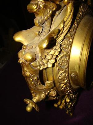 Large Solid Brass Winged Griffins Wall Clock Non Working Impressive Madein Spain