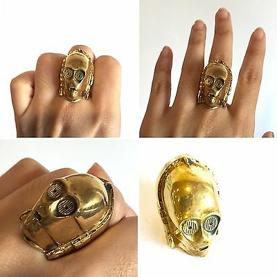 Classical Star Wars C-3PO Ring Gold Brass Jewelry Size 7 One and Only! Free Ship