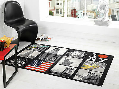 New York US America Design Washable Black Grey Red Rug in 100 x 160 cm
