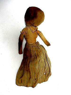 Early Primitive Cloth/ Rag Doll Large Head Faded Penciled Features Dressed 21.5""