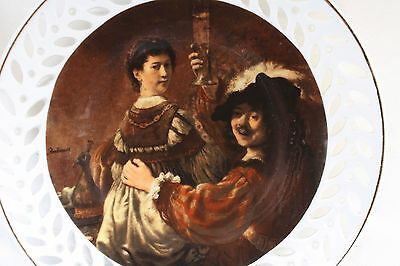 Vintage Decorative Plate Man Cheers Up with Young Lady