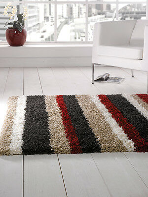 "Modern Shaggy Striped Black Red Thick Rug in 80 x 150 cm (2'6""x5'0"") Carpet"