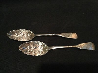 ANTIQUE LONDON ENGLAND STERLING SILVER 1870 large pair berry spoons LIAS