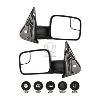 New Power Heated Flip Up Towing Mirrors Pair for Dodge Ram 1500 2500 3500 02-08