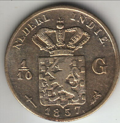 1857 Netherlands East India silver 1/10 gulden, infrequent here, KM-304 (#1)