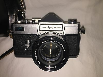 1964-1967. Mamiya Sekor CWP 35mm SLR camera, 58mm f 1.7 lens, and leather case