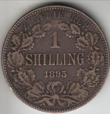 1895 South Africa (ZAR) silver shilling, scarcer year, KM-5