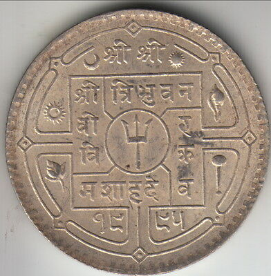 VS1995 (1938) Nepal silver 50 paisa (1/2 rupee), scarce issue, KM-718