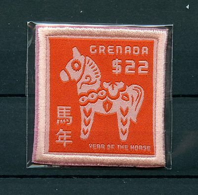 Grenada 2014 MNH Year of Horse 1v Embroidered Stamp Embroidery Lunar New Zodiac