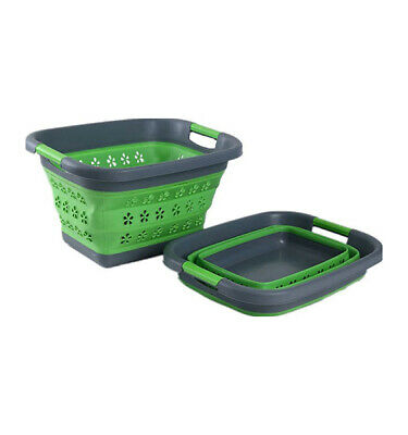 Collapsible Silicone  Laundry Basket Green - Camping & Outdoors Accessories