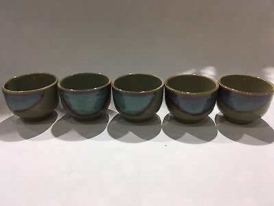 Japanese Sake Cups x5 Aokinyo 40ml Blue Brown Grey  Made in Japan  F/S