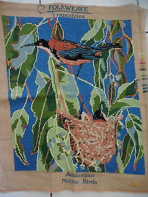 Tapestry Completed Unframed Folkweave Australian Native Birds