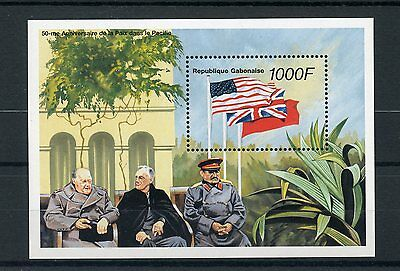 Gabon 1996 MNH WWII VJ Day 50th Peace in Pacific 1v S/S Churchill Stalin Stamps