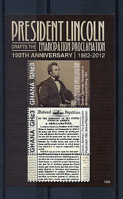 Ghana 2012 MNH US President Abraham Lincoln Emancipation Procl 2v S/S Stamps