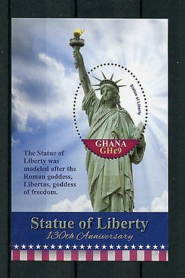 Ghana 2016 MNH Statue of Liberty 130th Anniv 1v S/S New York Architecture Stamps