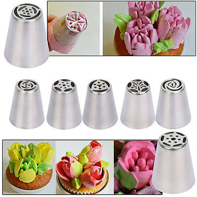 7pcs Russian Stainless Steel Icing Piping Nozzles Cake Flower Decor Baking Tool