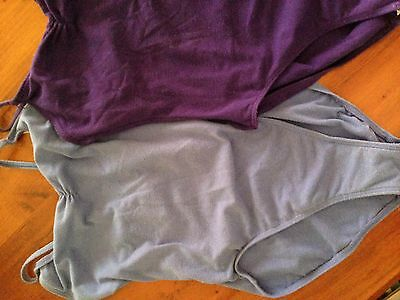 Dance wear (leotards, over skirt and light weight knit top). Shades of purple.