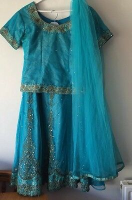 Ladies Size L-XL Lehenga Coli In Blue With Stone & Waier Work In VGC